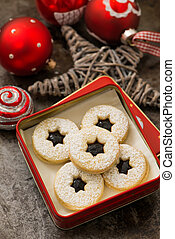 Marmalade cookies in a cookie box