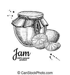 marmalade., vecteur, fruit, verre, citron, confiture, ...