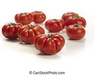 marmande, 토마토, 백색 위에서, 테이블