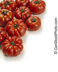 Marmande tomatoes on white background