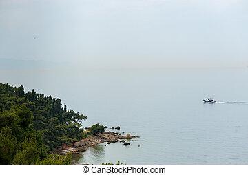 Marmara Sea in Buyukada - Rocky shore of the Marmara Sea,...