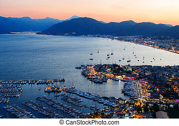marmaris, トルコ語, 港, riviera, 夜, 光景