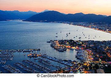 marmaris, turc, port, riviera, nuit, vue