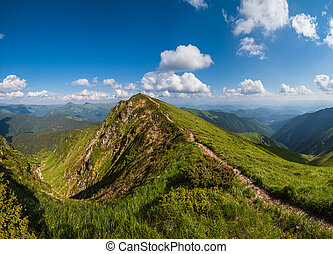 Marmaros Pip Ivan Mountain top, Carpathian, Ukraine near the Romania border. Summer peaceful landscape.