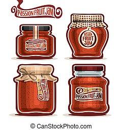 marmelad, frukt, vektor, passion, logo, krukor