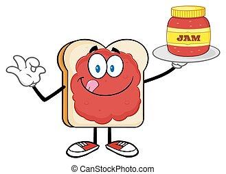 marmelad, skiva, kruka, holdingen, bread