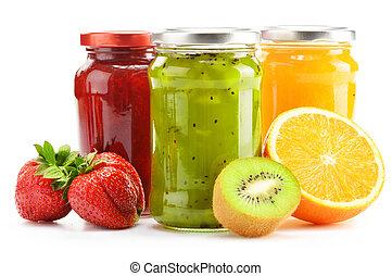 marmellate, fruity, white., frutte, vasi, composizione, ...