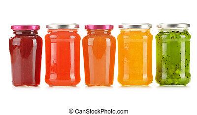 marmellate, isolato, fruity, fondo, bianco, vasi