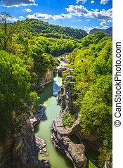 Marmitte dei Giganti canyon and Metauro river. Fossombrone, Marche, Italy.