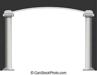 marmo, anticaglia, colonne, con, un, arco
