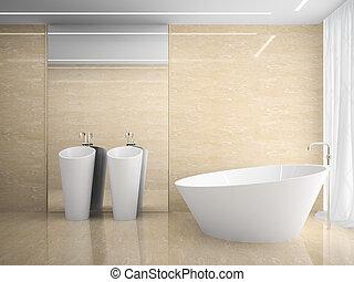 marmo, interno, 3d, interpretazione, disegno, moderno, camera letto