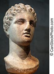marmor, huvud av, a, gudinna