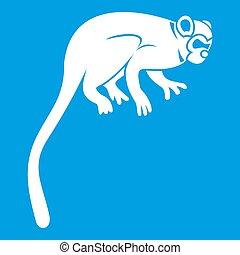 Marmoset monkey icon white isolated on blue background...