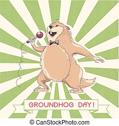 Marmot singer with microphone. Groundhog day - Marmot with...