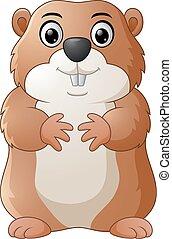 marmota, caricatura, feliz
