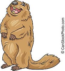 marmota, caricatura, ilustración, animal