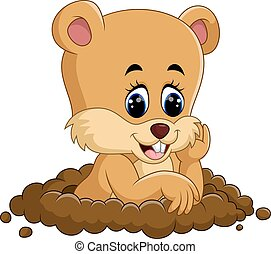 marmota, caricatura, lindo