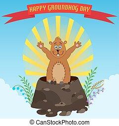 marmota, día, feliz