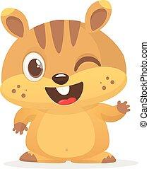 marmota, hablar, lindo, marmota, caricatura, pointing., día, marrón