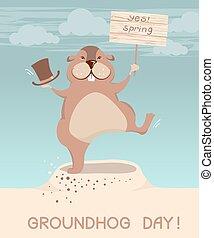 marmotta, illustrazione, day., vettore, cartoni animati, groundhog