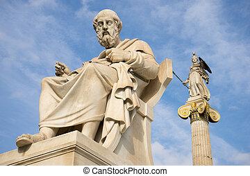 marmur, statua, od, przedimek określony przed rzeczownikami, starożytny, grek, filozof, plato.