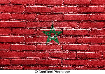 maroc, drapeau, peint, sur, mur brique