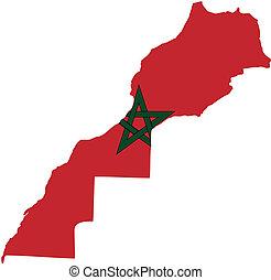 marocco, bandeira, mapa