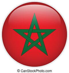 marocco, bottone, bandiera, lucido