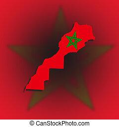 marocco, kaart, met, de, vlag, binnen