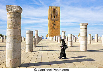 Marocco,Rabat. The Hassan Tower opposite the Mausoleum of...