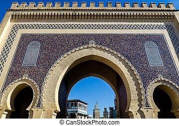 marokkó, fénykép, mecset, háttér, fes