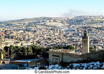 marokkó, háttér, mecset, fes, fénykép
