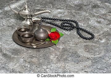 marokkanisch, bohnenkaffee, rose, blume, arabisch, laterne, rosary., islamisch, feiertage, dekoration