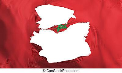 marokko, fahne, zerfetzt