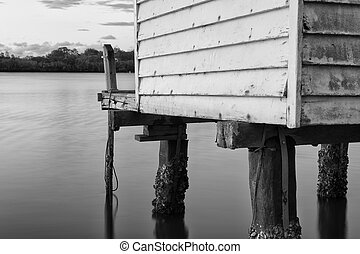 Maroochy River Boat House in the late afternoon in...