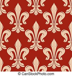 Maroon and beige floral seamless pattern