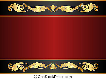 maroon and black background with gold ornaments