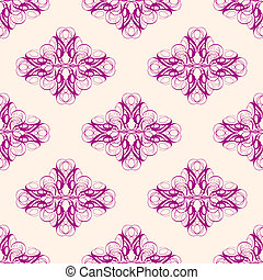 Maroon and Creme Abstract Damask Seamless Pattern - Abstract...