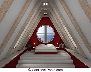 fictitious 3D rendering of an mansard bedroom with fantastic view