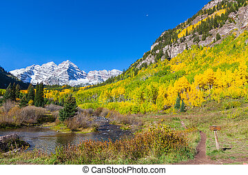 Maroon Bells Autumn - a scenic autumn landscape of the...