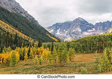 Maroon Bells Autumn - the scenic landscape of the maroon...