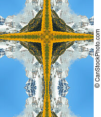 Maroon Bells cross - kaleidoscope cross from photo of Maroon...
