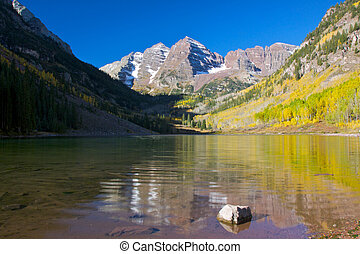 Maroon Bells in Fall Reflection