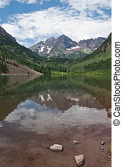Maroon Bells near Aspen, Colorado reflected in Maroon Lake