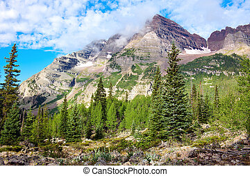 Maroon Bells seen from the Crater Lake trail