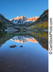 Maroon Bells Sunrise Aspen Colorado Vertical Composition reflect