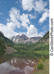 Maroon Bells - Three famous peaks reflected in Maroon Lake