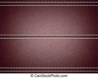 Maroon horizontal stitched leather background. Large...