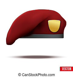 Maroon Military Red Beret of Army Special Forces with empty emblem. Vector Illustration. Isolated on white background.