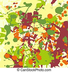 Maroon orange yellow green ink splashes background square